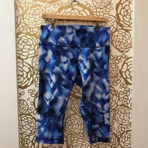 Lululemon Blue Watercolor Marble Crop Leggings